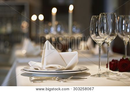 Beautiful Dining Table Ware Set On Table Interior Concept Design