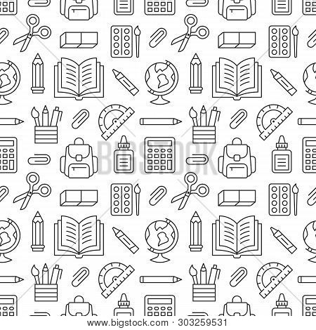 School Supplies Seamless Pattern With Line Icons. Study Tools Background - Globe, Calculator, Book,