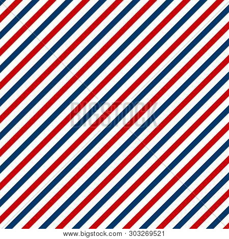 Red And Blue Diagonal Lines Seamless Pattern Abstract. Barbershop Vintage Texture.