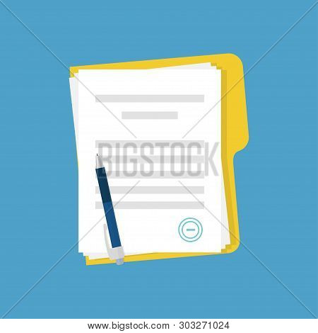 Document With Stamp And Pen. Business Documents Agreement. Paper Contract Or Paperwork On Blue Backg