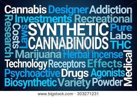 Synthetic Cannabinoids Word Cloud on Blue Background