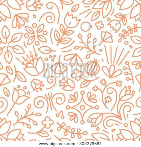 Botanical Seamless Pattern With Lush Vegetation Of Summer Meadow. Backdrop With Blooming Flowers And
