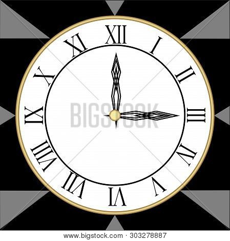 Minimalist Designed Clock With Roman Numbers In Cubist Style, Black And Gray Polygonal Design, Clock