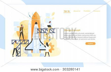 Group Of People Preparing Spaceship, Rocket, Spacecraft Or Shuttle For Space Journey. Startup Compan