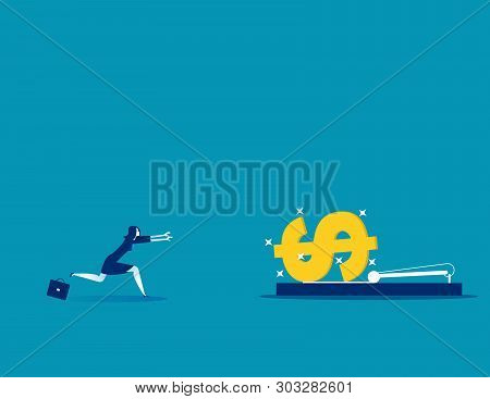 Businesswoman Running Into Mousetrap. Concept Business Vector Illustration.