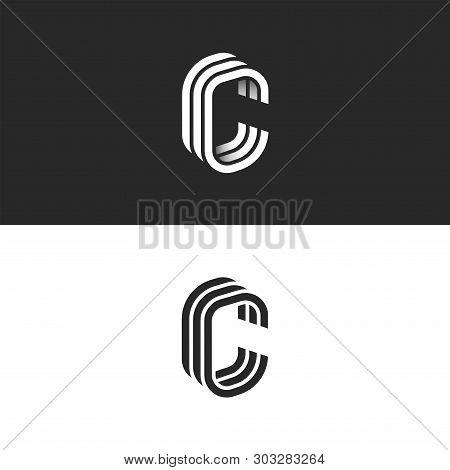 Isometric C Letter Logo Mockup, Modern Trendy Linear Design, Black And White Smooth Lines Ccc Typogr