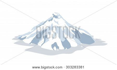 Inactive Or Dormant Volcano Covered By Snow, Ice Or Glacier Isolated On White Background. Seismic Or