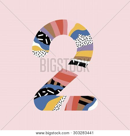 Number 2. Signs In Line Flat Style. Cute Modern Capital Numbers. Vector Trendy Flat Line Figures. Nu