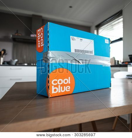 Amsterdam, The Netherlands, 05/27/2019. Coolblue Package Is Waiting On The Table To Return