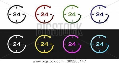 Set Clock 24 hours icon isolated on black and white background. All day cyclic icon. 24 hours service symbol. Vector Illustration poster