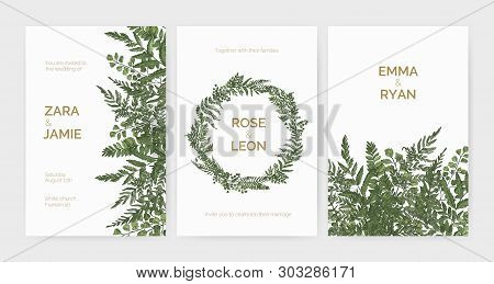 Bundle Of Elegant Stylish Wedding Invitation Templates Decorated With Green Ferns And Wild Herbs On
