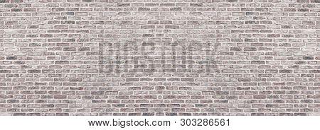 Wide Light Red Shabby Brick Wall Texture. Old Masonry Panorama. Whitewashed Rough Brickwork Panorami