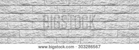 Wide White Cement Tile Wide Texture. Whitewashed Stone Block Masonry Panoramic Background. Rough Bri
