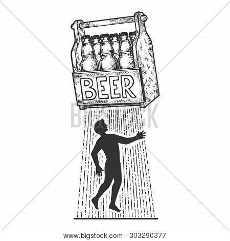 Beer Kidnaps Human Person Sketch Engraving Vector Illustration. Scratch Board Style Imitation. Black