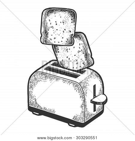 Toaster With Flying Out Bread Toast Crouton Sketch Engraving Vector Illustration. Scratch Board Styl