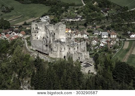 Medieval Strecno Castle In Slovakia. View From Lookout