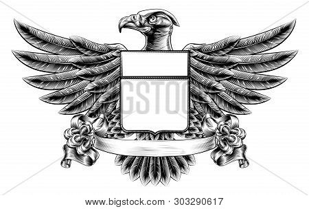 Vintage Woodcut Or Woodblock Style Wing Shield Eagle Insignia Motif Holding A Banner Scroll In His C