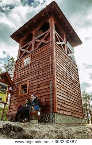 Strecno, Slovakia - May 1: People In Front Of Lookout On Hil Spicak On May 1, 2019 In Strecno