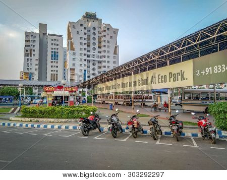 Kolkata, West Bengal / India - March 29, 2019: A View Of One Of The Major Bus Terminus At New Town,