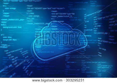 2d Rendering Cloud Computing, Cloud Computing Concept, Cloud Computing Technology Internet Concept B