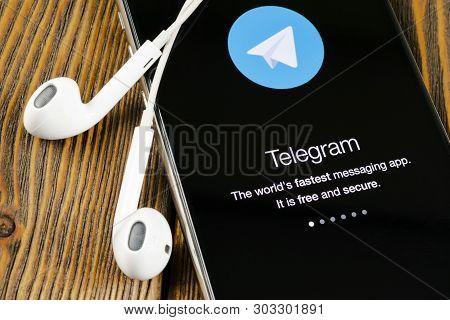 Helsinki, Finland, May 4, 2019: Telegram X Application Icon On Apple Iphone X Screen Close-up. Teleg