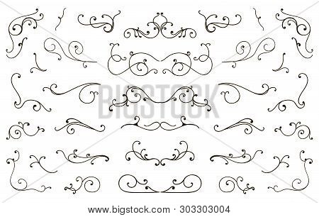 Set Of Hand Drawn Flourish Elements, Vintage Styled Calligraphic Flourishes.