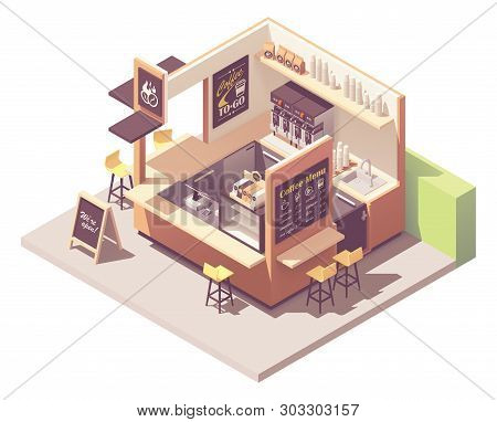 Vector Isometric Coffee Shop Or Coffeehouse Kiosk Cross-section. Cafe Interior With Coffee Machines,