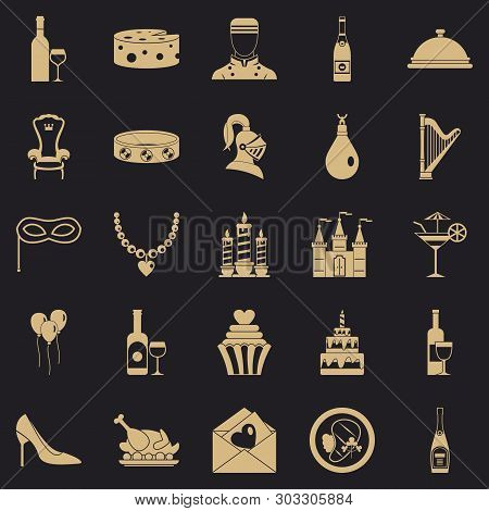 Banquet Hall Icons Set. Simple Set Of 25 Banquet Hall Vector Icons For Web For Any Design