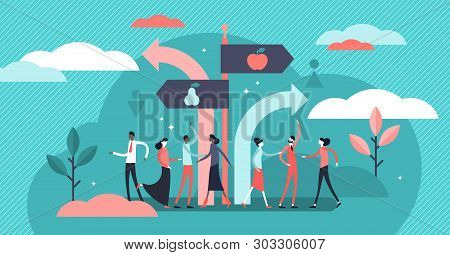 Segregation Vector Illustration. Flat Tiny Equal Diversity Sorting Persons Concept. Stereotype Separ