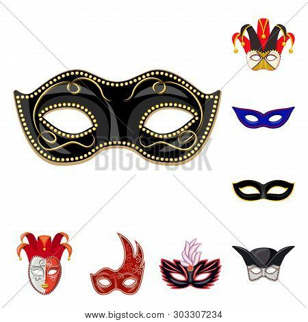 Vector design of carnival and theatrical symbol. Collection of carnival and mystery stock symbol for web. poster