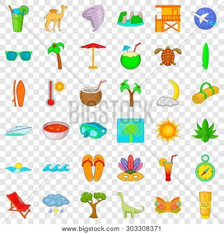 Tropic Icons Set. Cartoon Style Of 36 Tropic Vector Icons For Web For Any Design