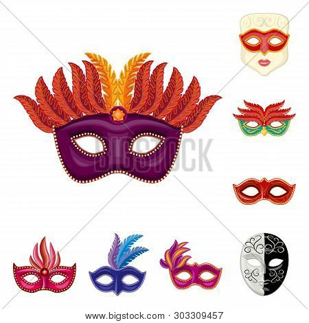 Vector design of carnival and theatrical logo. Collection of carnival and mystery stock vector illustration. poster