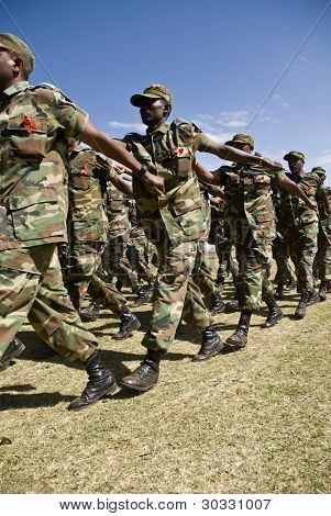 Ethiopian Army Soldiers Marching at the 20th World Aids Day