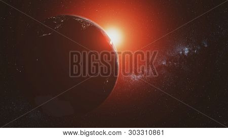 Planet Earth Motion Sunlight Illuminate Open Space. Red Sunlight Radiance Cosmic Nebula Satellite View. Solar System Milky Way Outer Galaxy 3