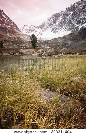 Dawn In Mountain Valley. Sunset In Autumn Rocks Among Yellow Grass