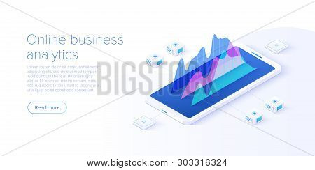 Online Business Analysis Strategy Isometric Vector Illustration. Data Analytics For Company Marketin