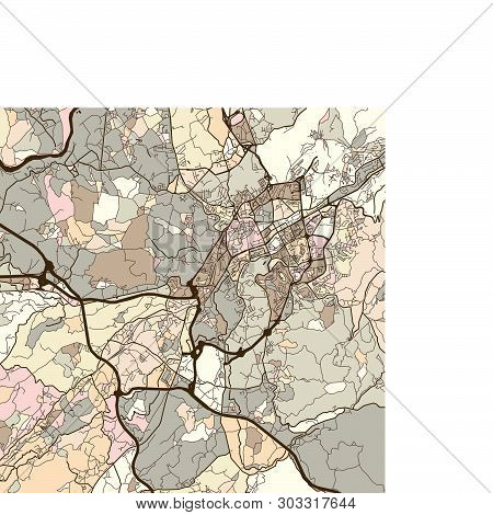 Map Of Braga Portugal, Art Map Print Template. Brown Colored Version For Apps, Print Or Web Backgrou