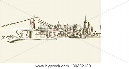 New York Skyline Drawing, Brown Colored Version For Apps, Print Or Web Backgrounds