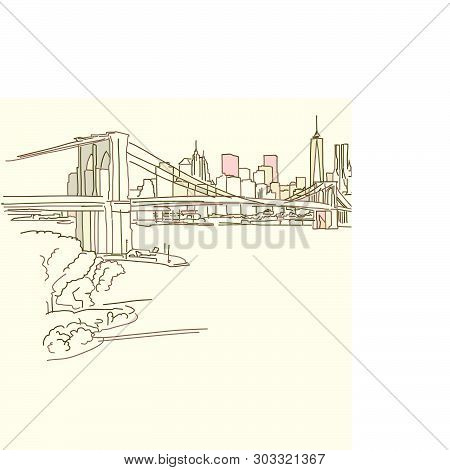 New York Brooklyn Bridge Drawing, Brown Colored Version For Apps, Print Or Web Backgrounds