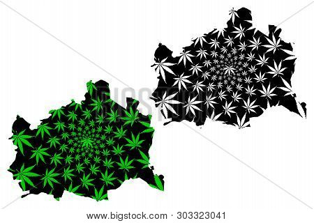 Vienna (republic Of Austria, Wien, Capital City And State) Map Is Designed Cannabis Leaf Green And B