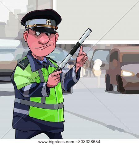 Cartoon Traffic Inspector Standing By The Road Points Finger At A Blank Billboard