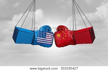 China Us Or United States Trade And American Tariffs Conflict With Two Opposing Trading Partners As