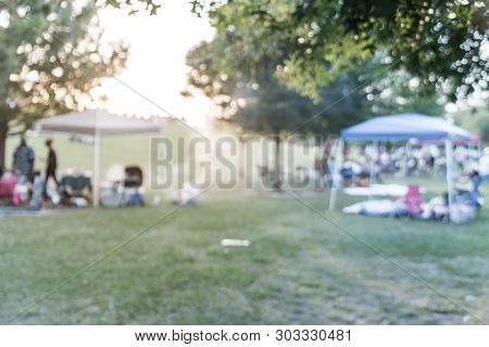 Filtered Tone Blurry Background Resident Enjoy Bbq And Camping At Local Park In Usa