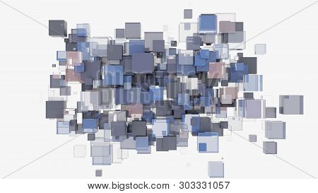Abstract Background With Cubes. Glass, Plastic And Metal. 3d Illustration