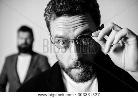 Man Handsome Bearded Guy Wear Eyeglasses. Eye Health And Sight. Optics And Vision Concept. Smart Gla