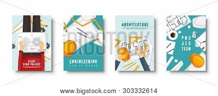 Engineering And Architecture Flat Style Covers Set. Drawing Construction. Architectural Project. Des