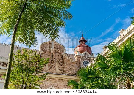 Kuala Lumpur- January 1, 2019: The Sultan Abdul Samad Earliest Moorish-style Building Is Located In