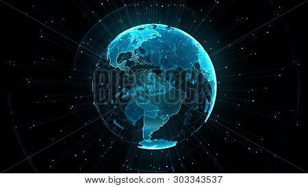 Growing Global Network And Ict(information Communication Network) Concept. Technology Data Binary Co