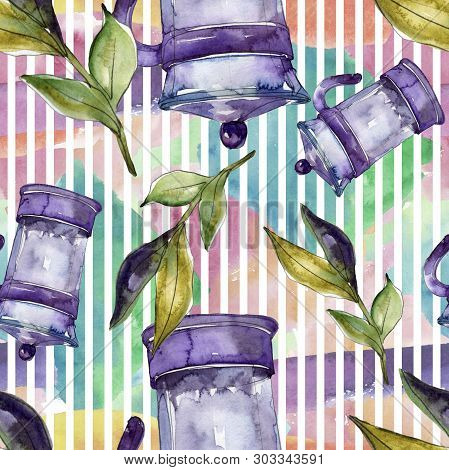 Fresh And Cold Soft Drinks. Watercolor Background Illustration Set. Seamless Background Pattern.