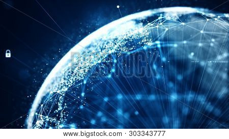 Cyber Security And Global Communication Concept.
